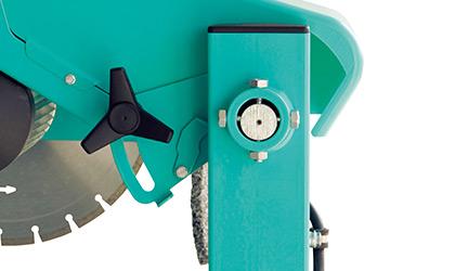 Sélecteur facilement actionnable, impose la hauteur de coupe nécéssaire pour le disque Ø 350 ou 400 mm